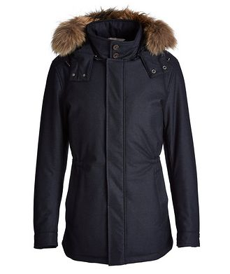 Canali Waterproof Fur-Trimmed Coat