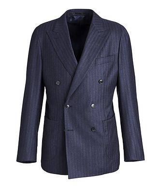Atelier Munro Striped Stretch-Wool Double-Breasted Sports Jacket