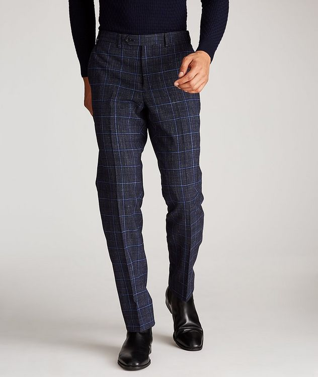 Windowpane Wool-Linen Dress Pants picture 2