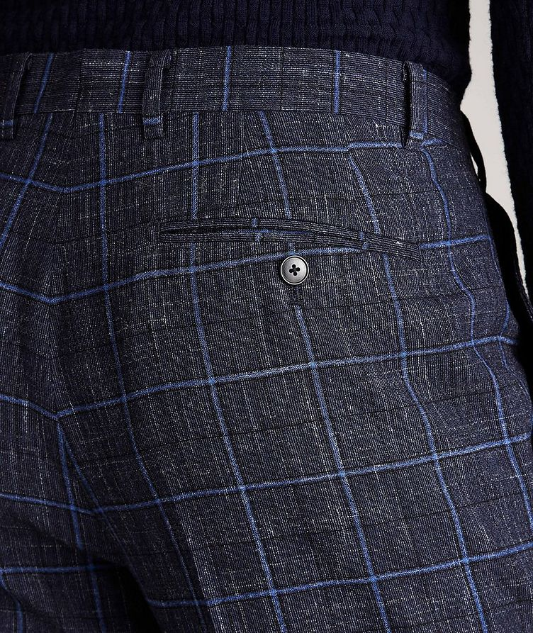 Windowpane Wool-Linen Dress Pants image 3