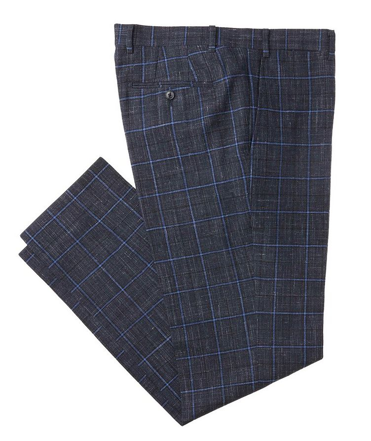 Windowpane Wool-Linen Dress Pants image 0