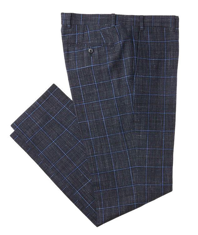 Windowpane Wool-Linen Dress Pants picture 1