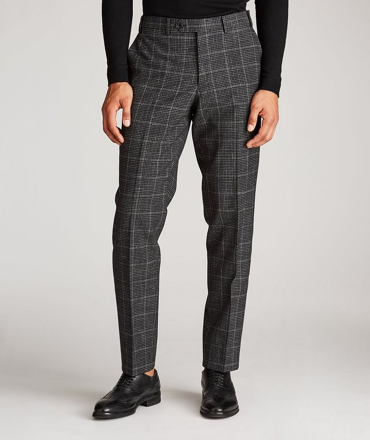 Checked Wool-Linen Dress Pants image 1