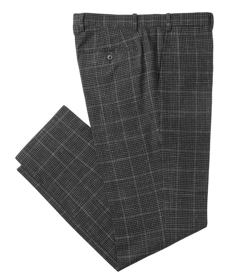 Checked Wool-Linen Dress Pants image 0