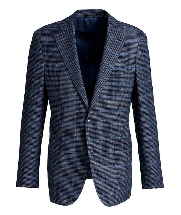 Windowpane Linen, Wool, and Cotton Sports Jacket picture 1