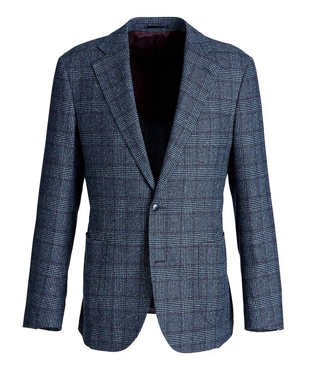 Windowpane-Checked Wool-Silk Sports Jacket picture 1