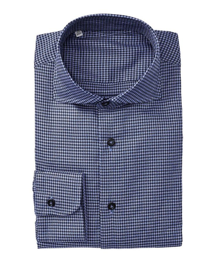 Slim Fit Houndstooth-Printed Cotton Dress Shirt image 0