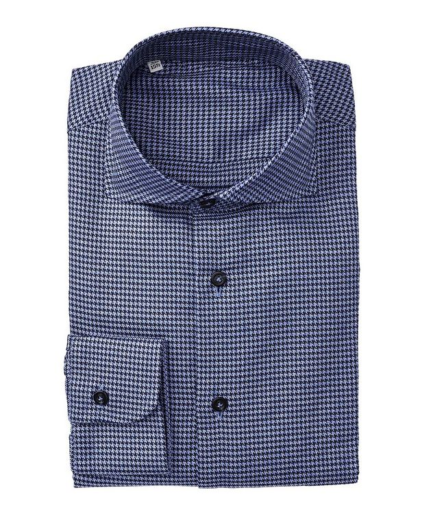 Slim Fit Houndstooth-Printed Cotton Dress Shirt picture 1
