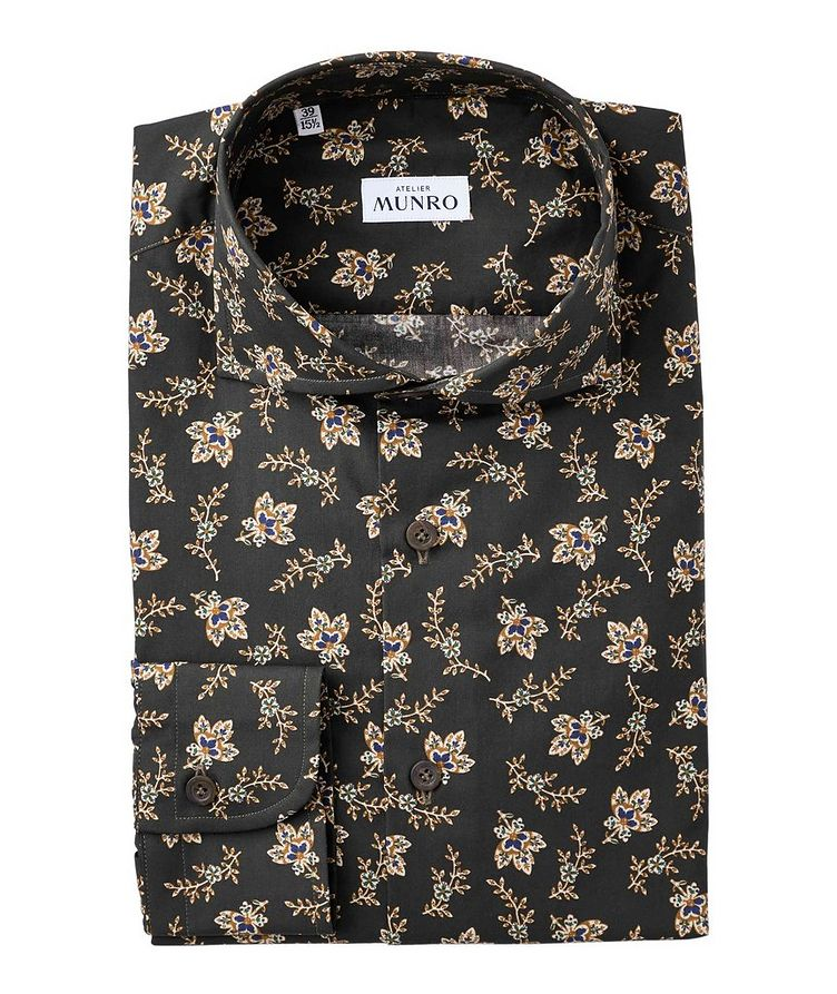 Slim Fit Floral Printed Cotton Dress Shirt image 0