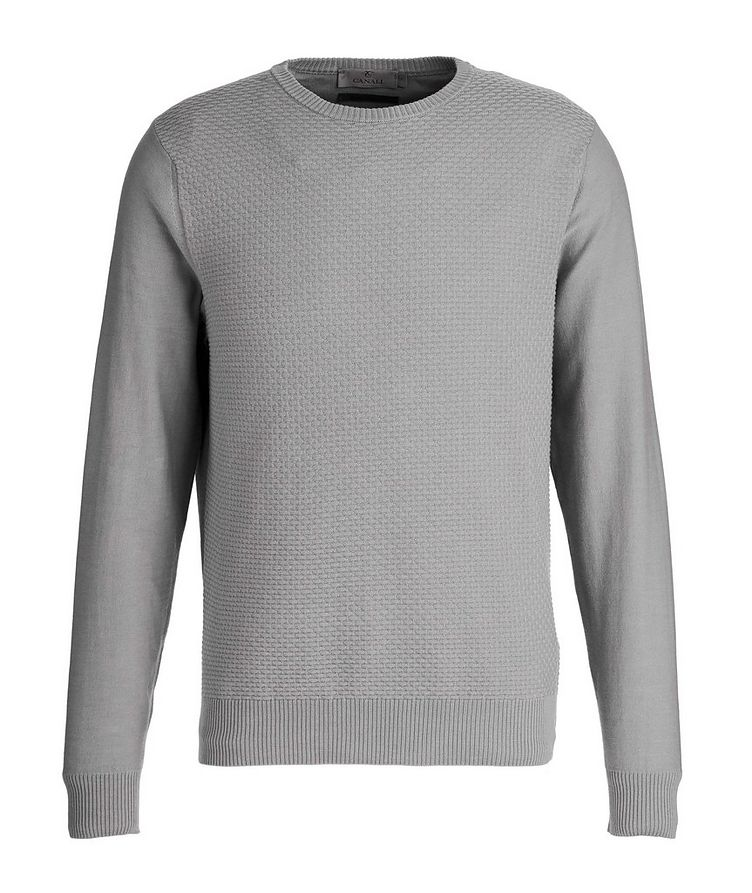 Tile-Knit Stretch-Cotton Sweater image 0