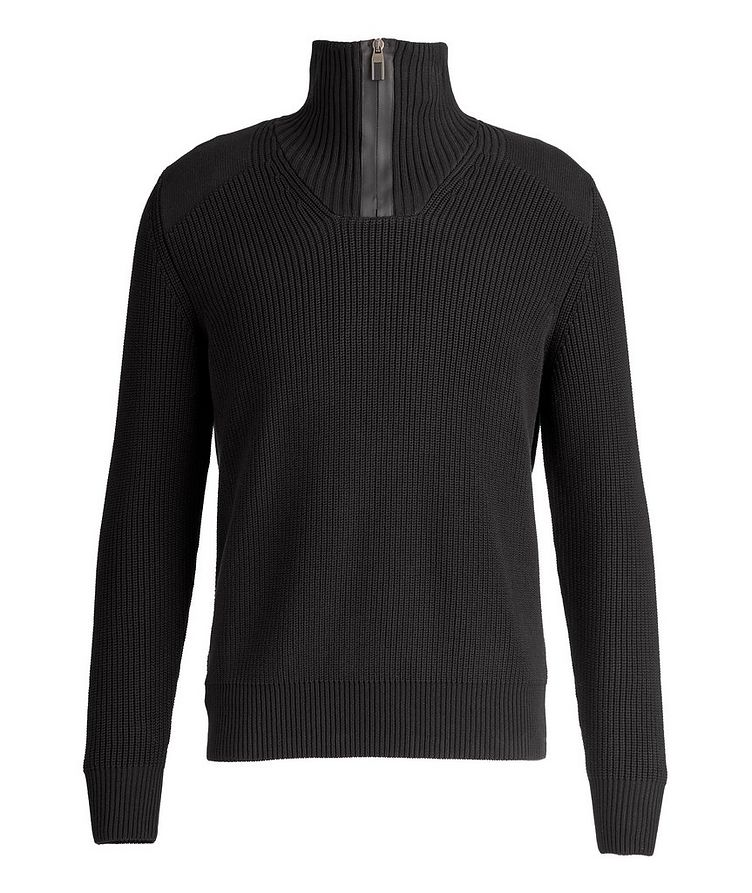 Half-Zip Cable-Knit Sweater image 0
