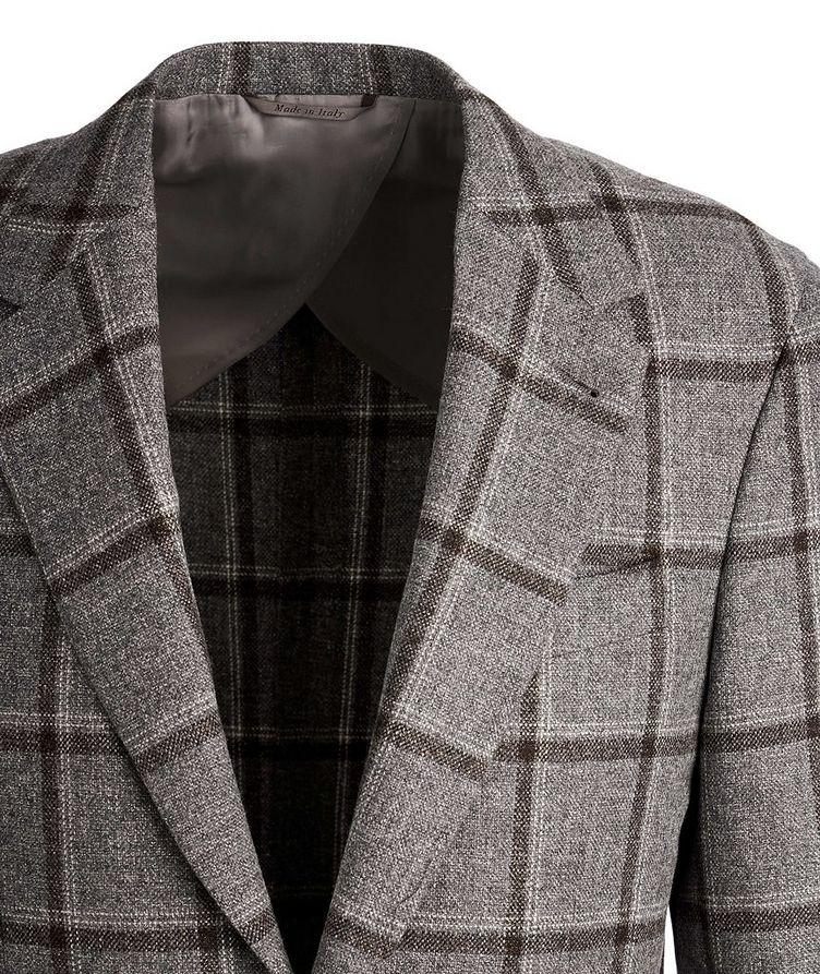 Slim Fit Windowpane Wool, Silk, and Linen Sports Jacket image 1