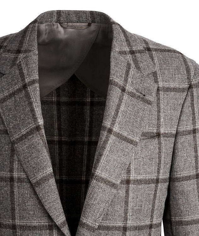 Slim Fit Windowpane Wool, Silk, and Linen Sports Jacket picture 2