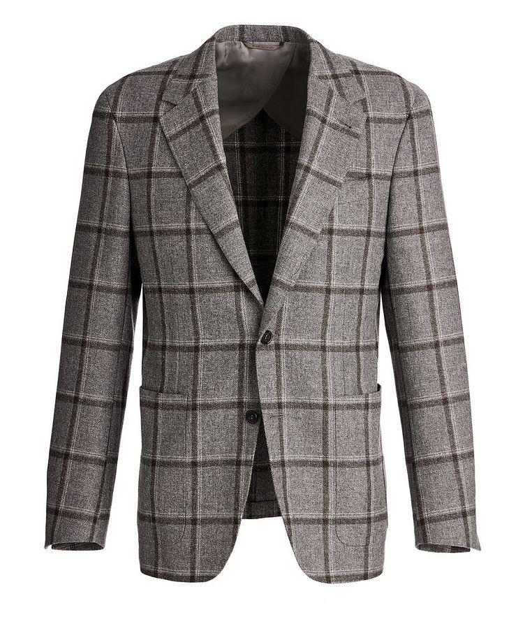 Slim Fit Windowpane Wool, Silk, and Linen Sports Jacket image 0