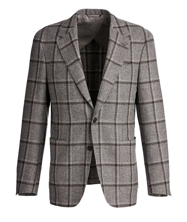 Slim Fit Windowpane Wool, Silk, and Linen Sports Jacket picture 1