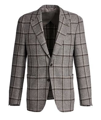 Canali Slim Fit Windowpane Wool, Silk, and Linen Sports Jacket