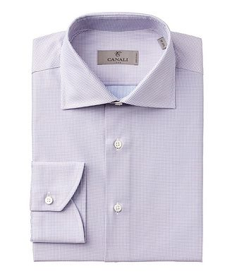 Canali Contemporary Fit Micro Check Cotton Dress Shirt