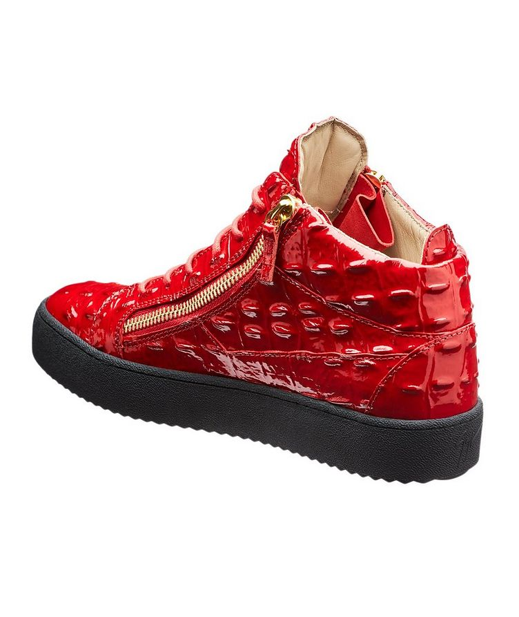 Crocodile Textured Mid-Top Sneakers image 1