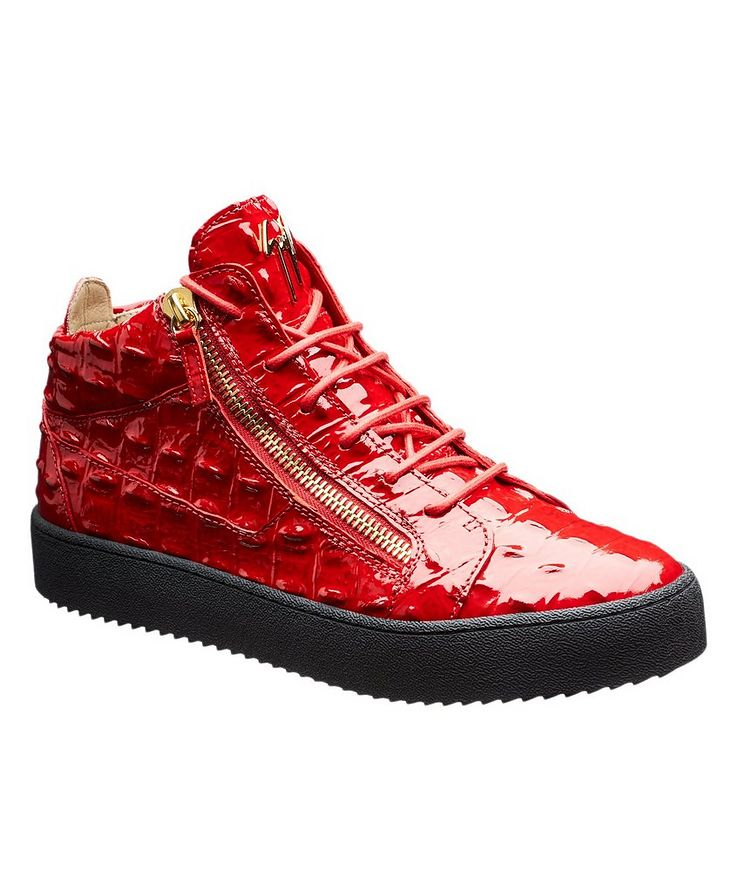 Crocodile Textured Mid-Top Sneakers image 0