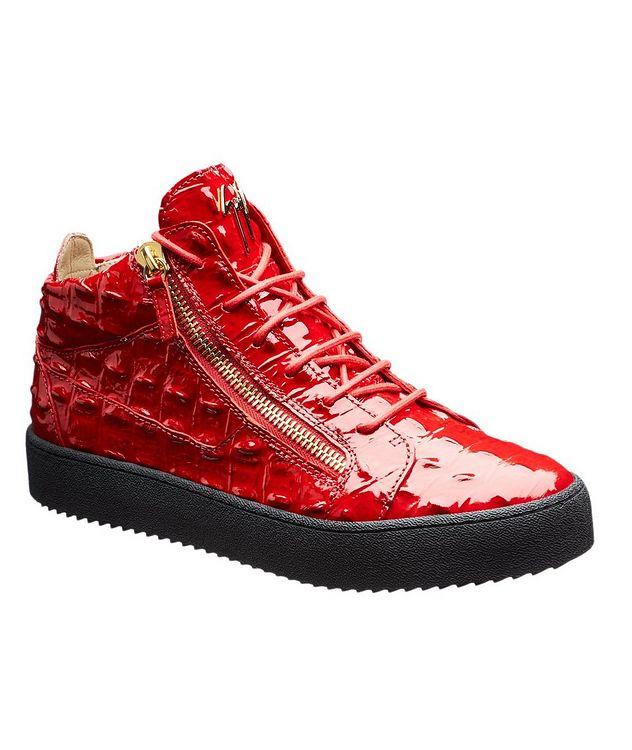 Crocodile Textured Mid-Top Sneakers picture 1