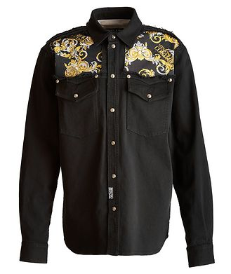 Versace Jeans Couture Baroque Stretch Cotton Western Shirt