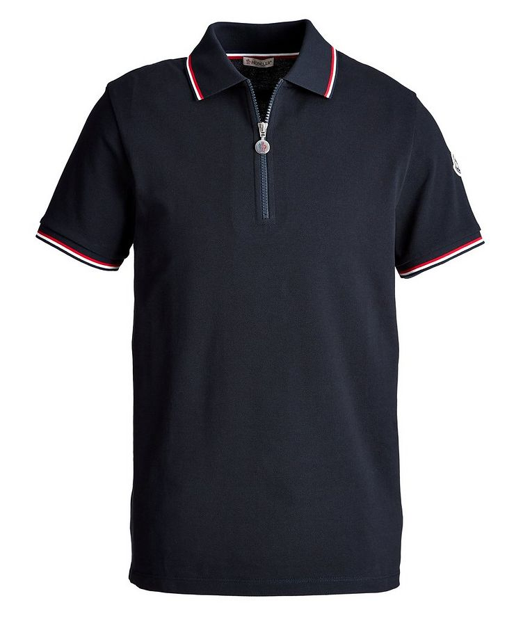 Half-Zip Cotton Piqué Polo image 0
