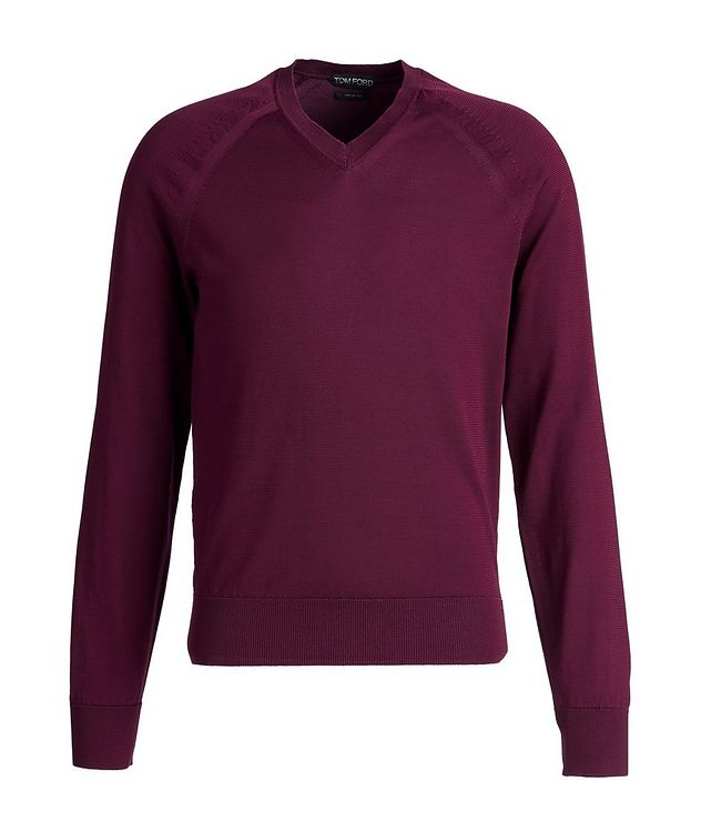 V-Neck Silk-Blend Sweater picture 1