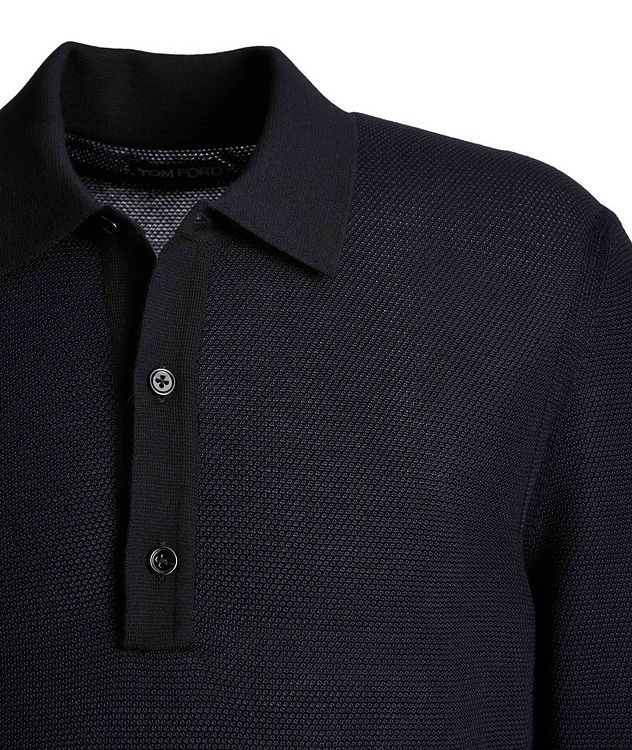Long-Sleeve Silk-Cashmere Polo picture 3