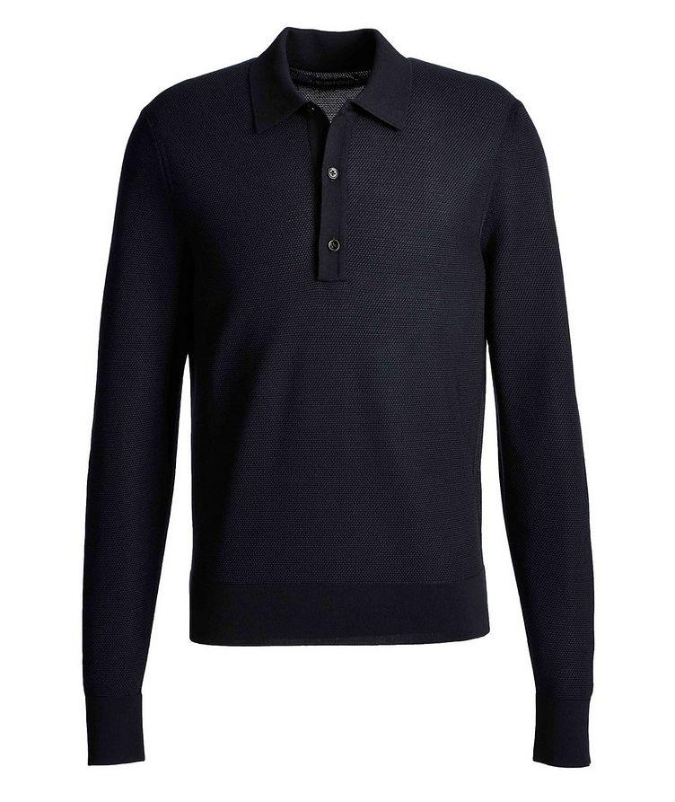 Long-Sleeve Silk-Cashmere Polo image 0