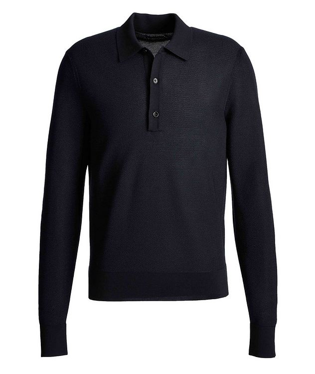Long-Sleeve Silk-Cashmere Polo picture 1