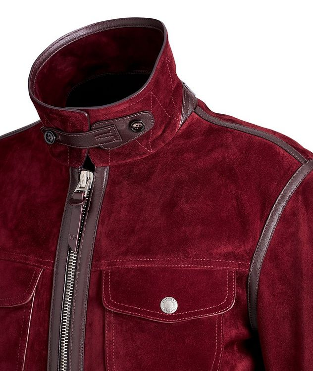 Leather-Trimmed Suede Jacket picture 3