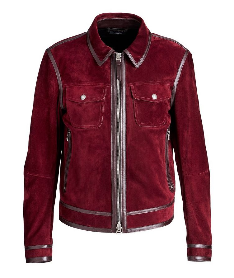 Leather-Trimmed Suede Jacket image 0
