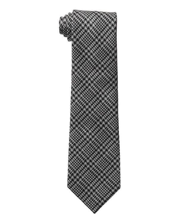 Houndstooth Check Silk-Wool Tie picture 1