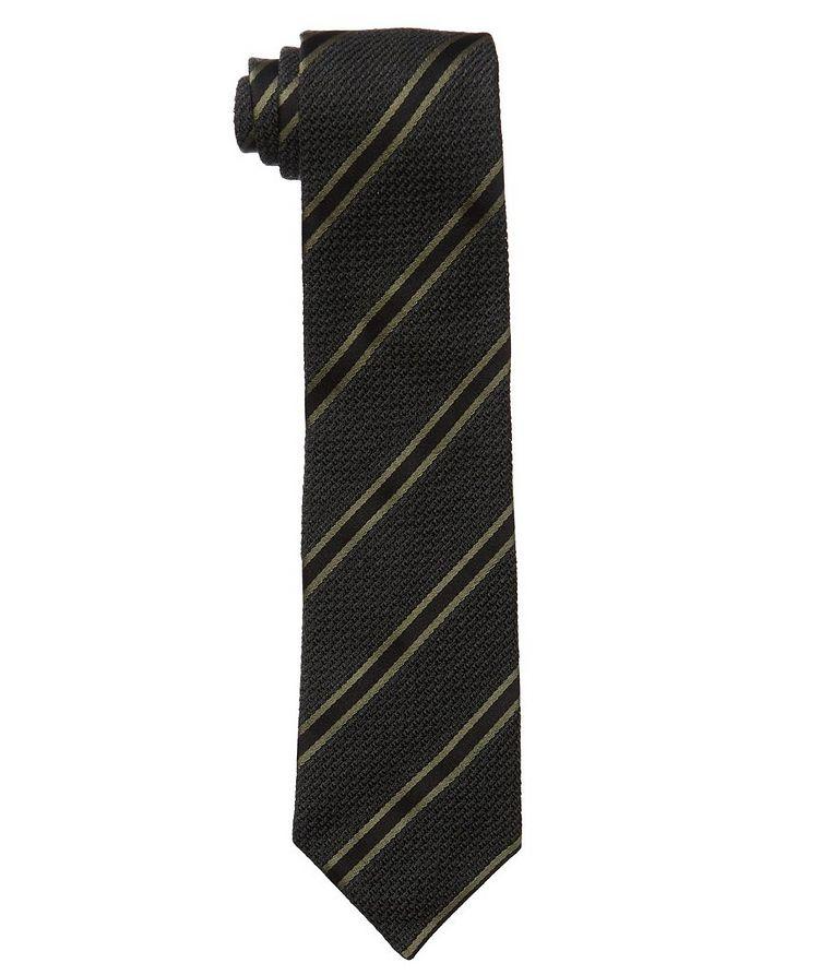 Cravate en soie et laine à rayures image 0