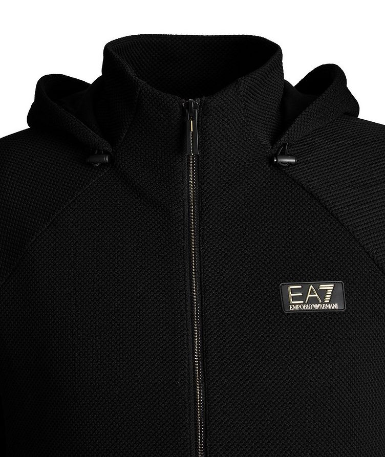 Mesh Stretch Knit Zip-Up Hoodie image 2
