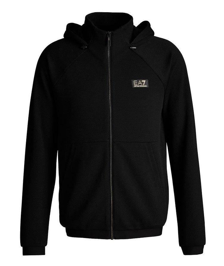 Mesh Stretch Knit Zip-Up Hoodie image 0