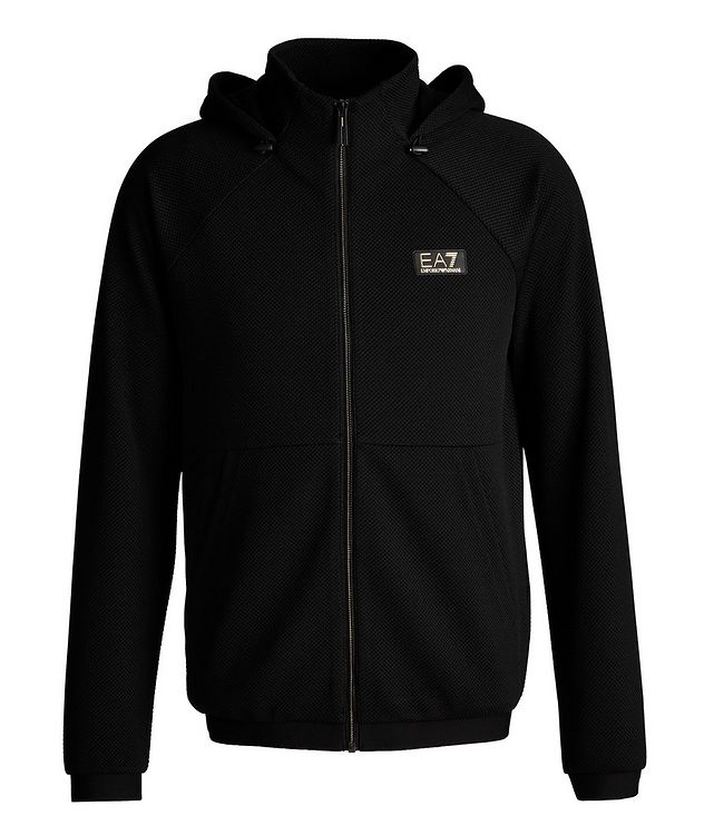 Mesh Stretch Knit Zip-Up Hoodie picture 1