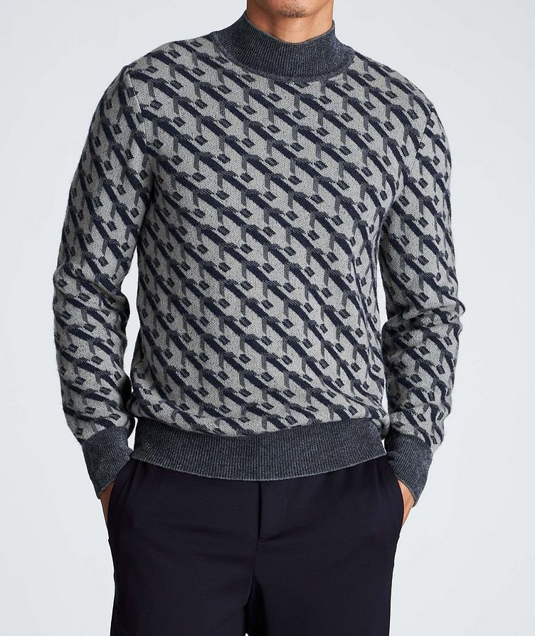 Geometric Print Cashmere-Blend Sweater image 1