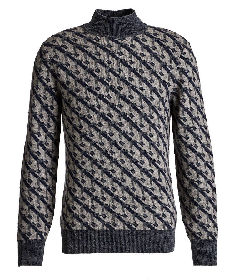 Geometric Print Cashmere-Blend Sweater image 0