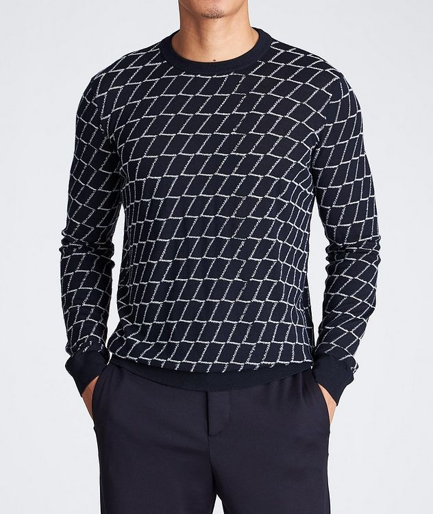 Textured Geometric Print Sweater picture 2