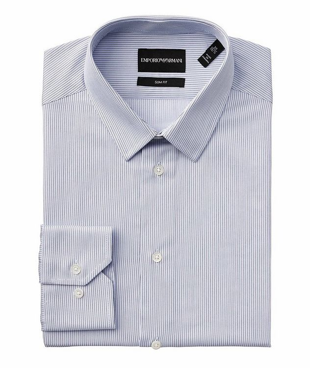 Slim-Fit Pinstriped Cotton Dress Shirt picture 1
