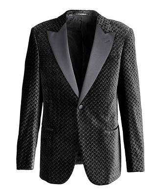 Emporio Armani Velvet Geometric Print Tuxedo Jacket