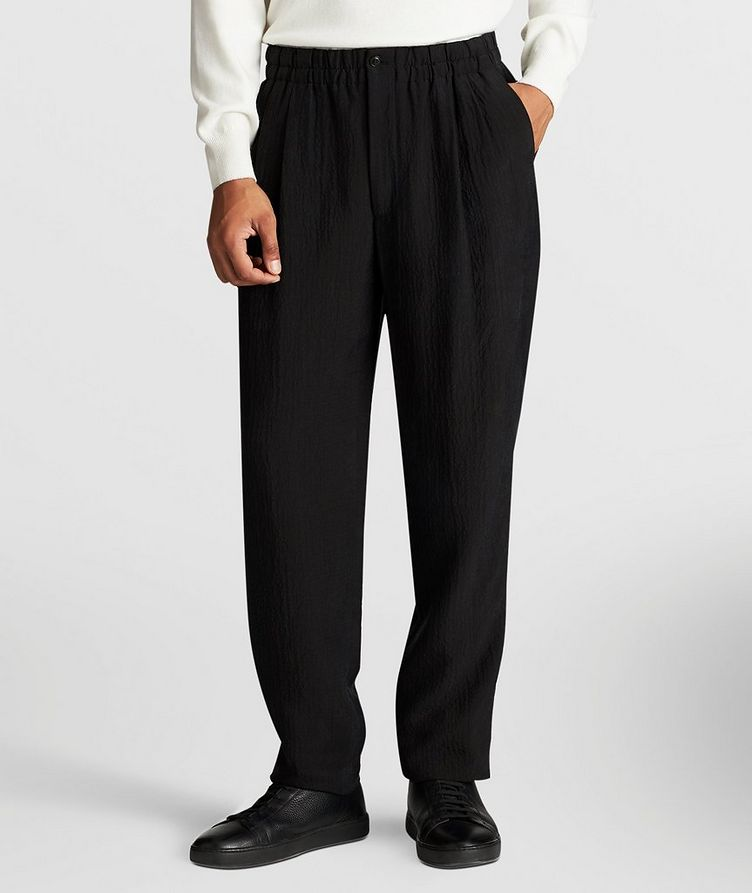 Crinkled Cupro Drawstring Pants image 1