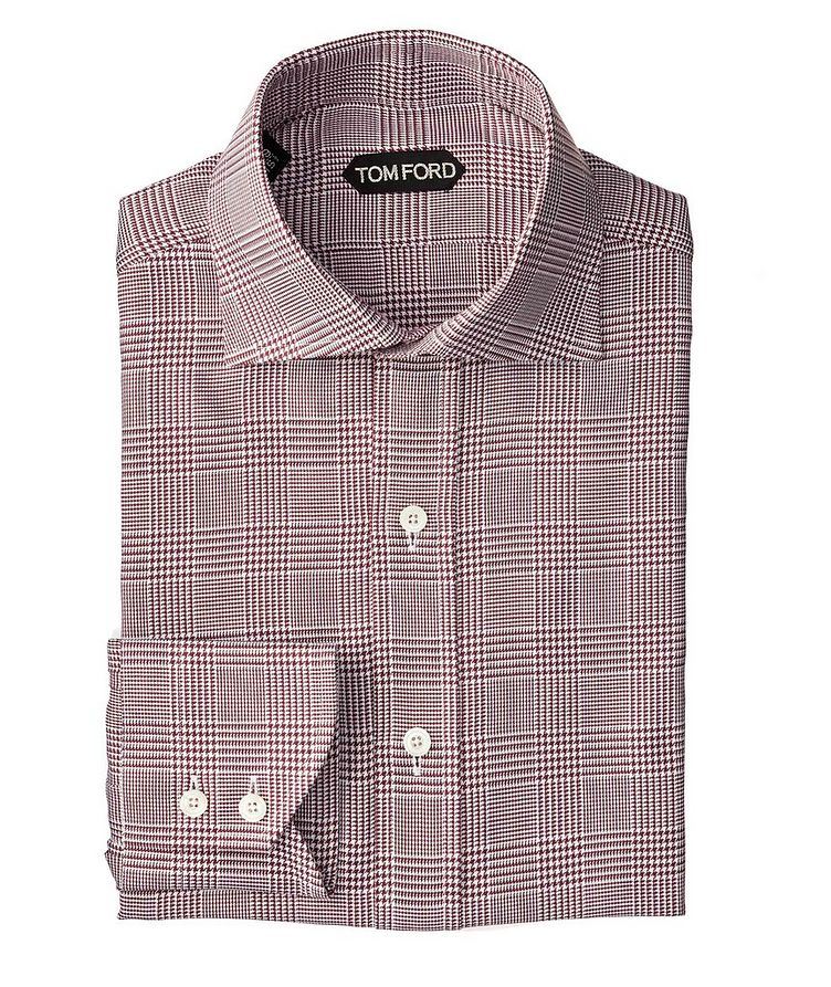 Slim Fit Glen-Checked Dress Shirt image 0