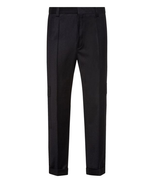 Contemporary-Fit Pleated Stretch-Wool Cargo Pants picture 1