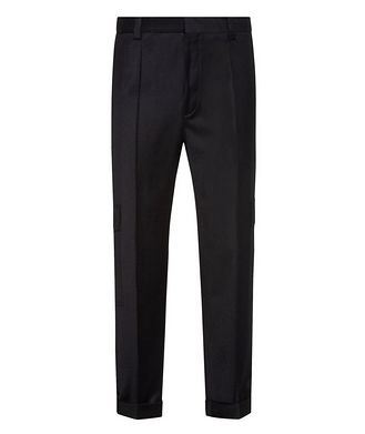 HUGO Contemporary-Fit Pleated Stretch-Wool Cargo Pants
