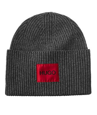 HUGO Tuque en tricot côtelé de laine