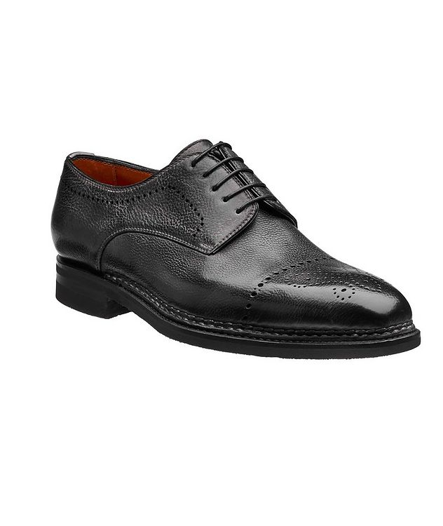 Embossed Cap-Toe Leather Oxfords picture 1