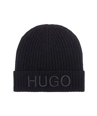 HUGO Tuque en tricot côtelé de laine vierge