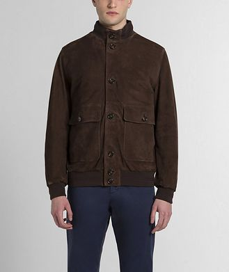 Paul & Shark Aqua Leather Suede Jacket